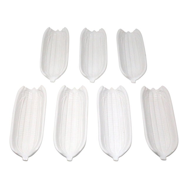 White Ceramic Corn on the Cob Holders - Set of 7 For Sale