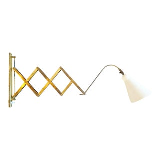 1950s Mid-Century Modern Brass Scissor Wall Lamp For Sale