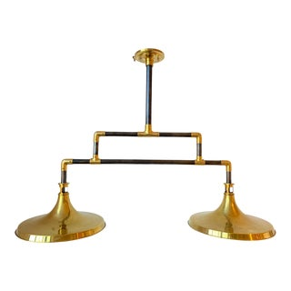 Waterworks Unlacquered Brass & Old Bronze Double Pendant Light For Sale