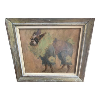 Oil on Board Painting of a Boston Terrier Circus Dog For Sale