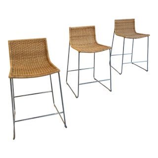 3 McGuire Sling Counter Stools, Wicker and Chrome