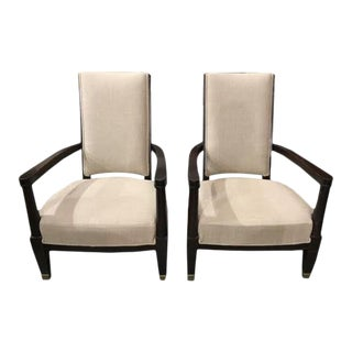 Vintage Armchairs From a French Hotel, Newly Recovered - a Pair For Sale