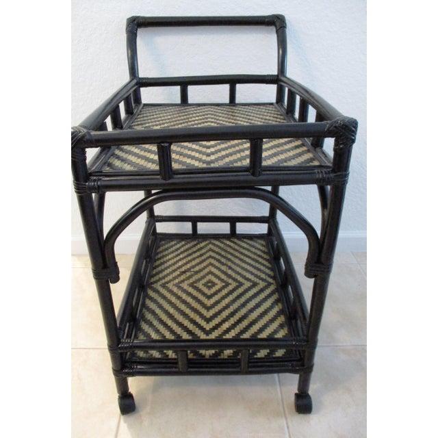 Modern Black & Tan Bamboo & Rattan Rolling Bar Cart For Sale - Image 3 of 9