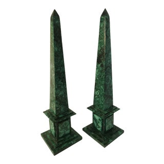 Late 20th Century Malachite Obelisks - a Pair For Sale