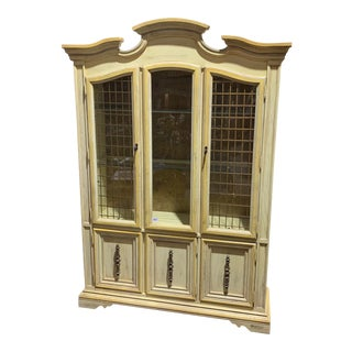 Vintage Yellow & White Stanley China Cabinet For Sale