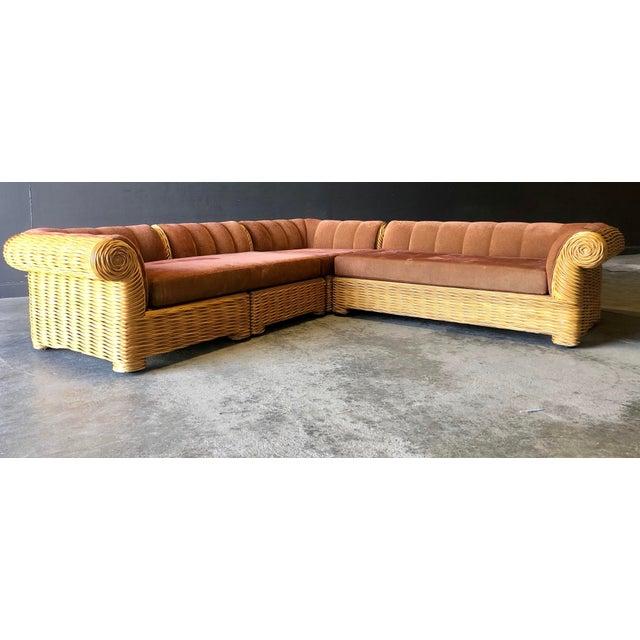 Rattan 4 Piece Modular Sofa For Sale - Image 13 of 13