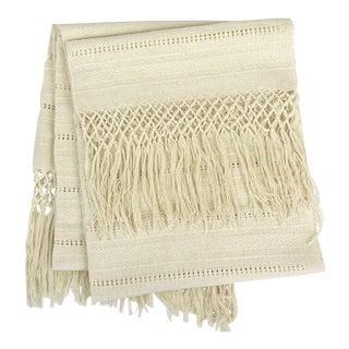 Oaxaca Cotton Woven Cream Tassel Table Runner For Sale