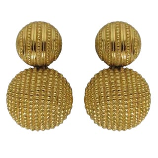 Christian Dior Textured Gold Earrings For Sale