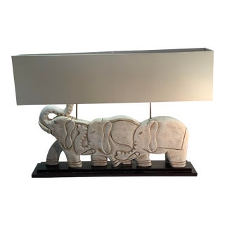 Balinese Wooden Elephant Lamp For Sale