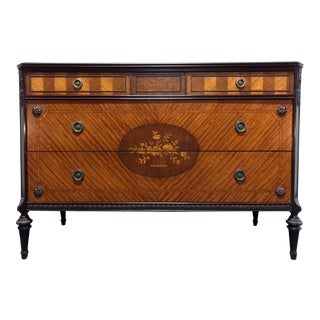 Vintage French Louis XVI Style Inlaid Satinwood Marquetry Commode Chest For Sale