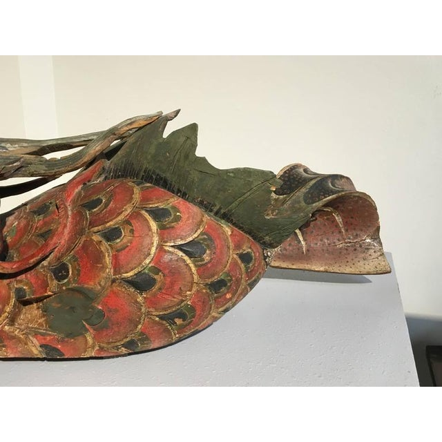 Wood Chinese Folk Carved and Painted Wooden Dragon For Sale - Image 7 of 9