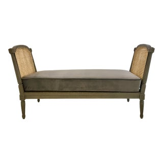 French Style Caned Bench/Settee With Gray Velvet Cushion For Sale
