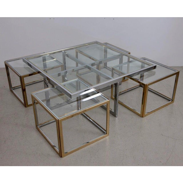 Maison Charles Brass Coffee Table with Four Nesting Tables For Sale - Image 6 of 6