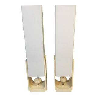 Mid-Century Acrylic Square Tube Table Lamps - A Pair