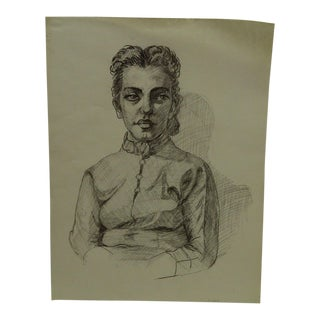 "1958 Mid-Century Modern Original Drawing on Paper, ""Button Down Jane"" by Tom Sturges Jr."