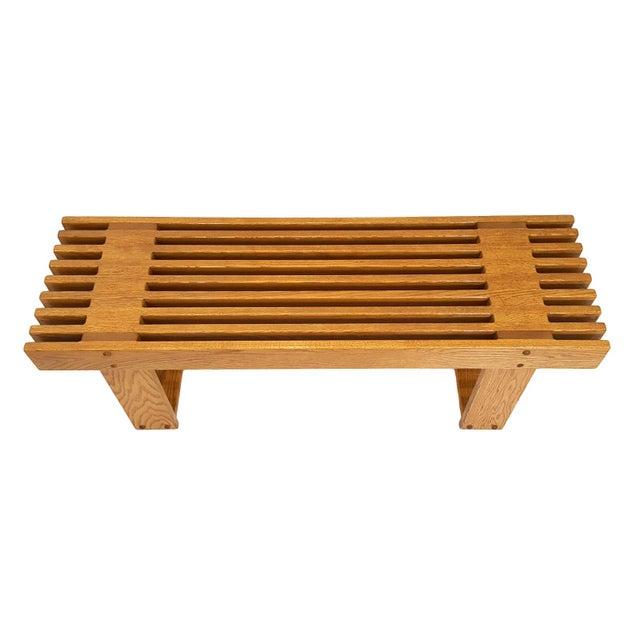 George Nelson 1960s Mid-Century Modern Oak Slat Bench For Sale - Image 4 of 11