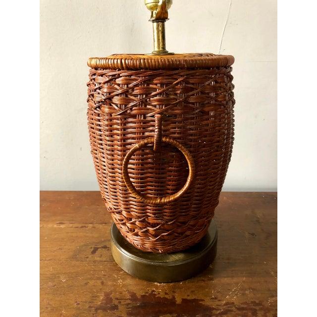 Asian Vintage Wicker Ginger Jar Table Lamp For Sale - Image 3 of 7