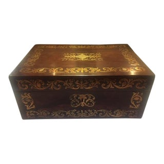 Early 19th Century Antique English Brass Inlaid Rosewood Box For Sale