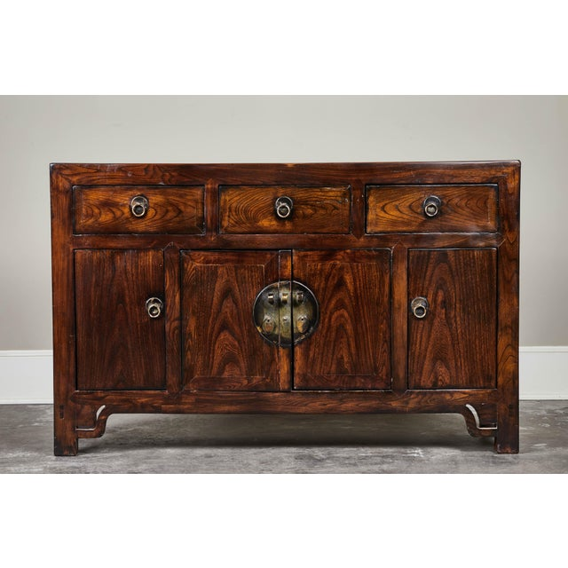 19th C. Chinese Three Drawer Elm Sideboard For Sale - Image 9 of 9