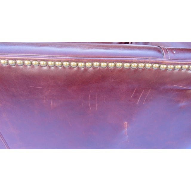 Pearson Chestnut Leather Sofa with Brass Nailhead Trim For Sale In San Diego - Image 6 of 8