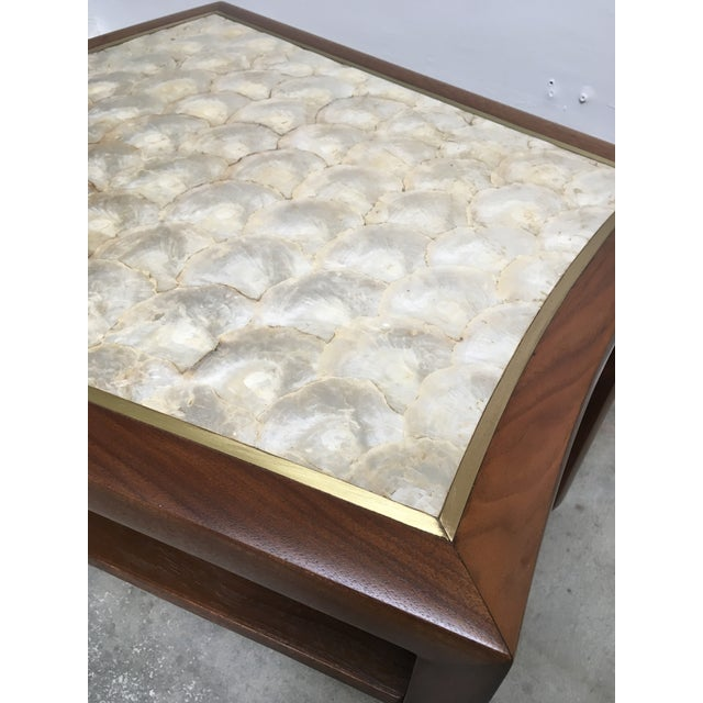 Dunbar Furniture 1950s Mid Century Modern Capiz Shell & Brass Top Side Table For Sale - Image 4 of 10