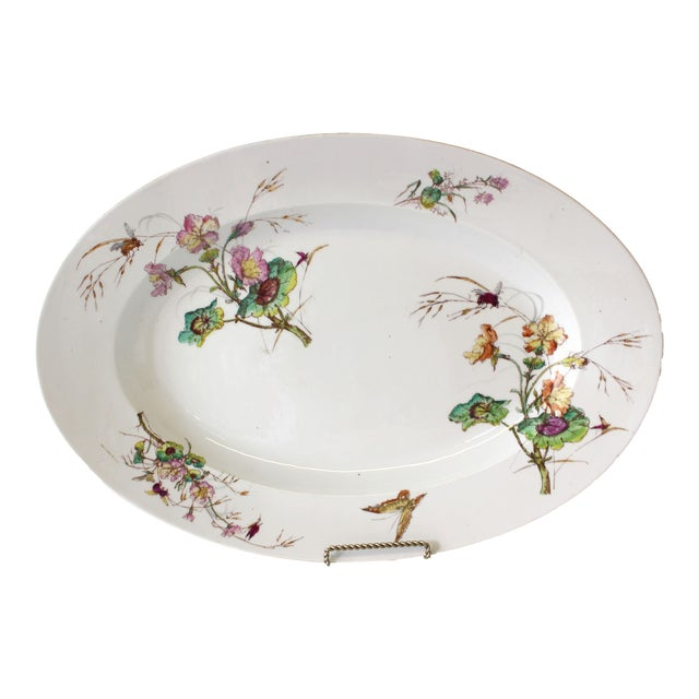 Limoges Delinieres & Co Porcelain With Floral Design Serving Platter from Late 1800s For Sale
