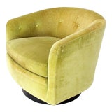 Image of Vintage Mid Century Milo Baughman Single Lounge Swivel Chair For Sale