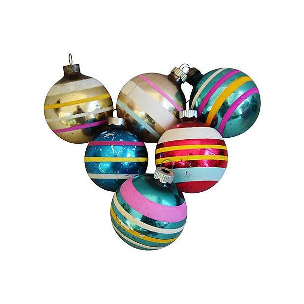 1960s Striped Christmas Ornaments w/Box - Set of 12 - Image 3 of 7