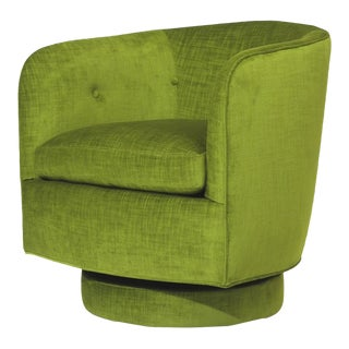Milo Baughman for Thayer Coggin Swivel & Tilt Lounge Chair in Green Velvet For Sale