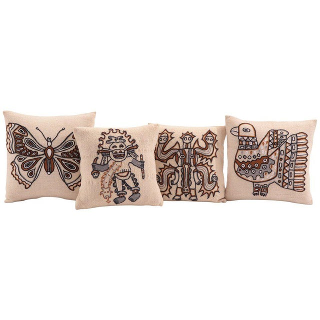 Red Embroidered Peruvian Pillows - Set of 4 For Sale - Image 8 of 8