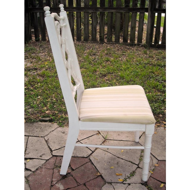 Vintage Faux Bamboo Dining Chairs - Set of 4 - Image 7 of 9