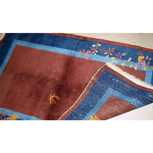 Brown 1920s Handmade Antique Art Deco Chinese Rug 3' X 4.11' For Sale - Image 8 of 13