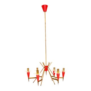 1950s Stilnovo Italian Sputnik 6 Arm Red Chandelier For Sale