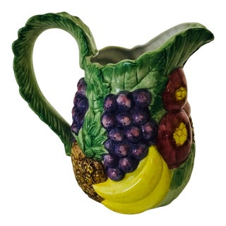 1980s Hollywood Regency Fitz & Floyd Ceramic Fruit Pitcher