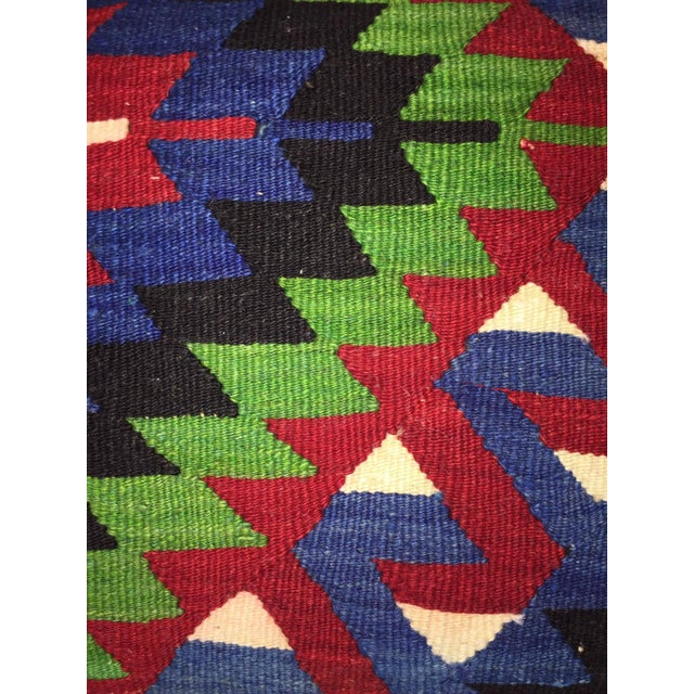 Blue, Red & Green Kilim Pillow Cover - Image 3 of 5