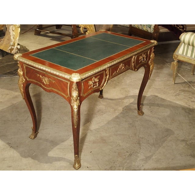 Metal Circa 1900 French Louis XV Style Bureau Plat Writing Desk For Sale - Image 7 of 13