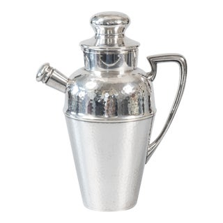 Art Deco English Hammered Silver Plate Cocktail Shaker For Sale
