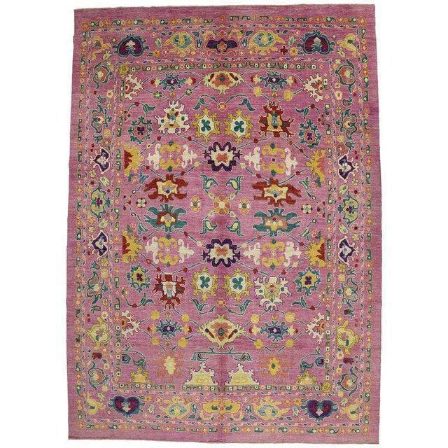 "20th Century Vintage Turkish Oushak Rug - 12' X 16'10"" For Sale - Image 9 of 9"