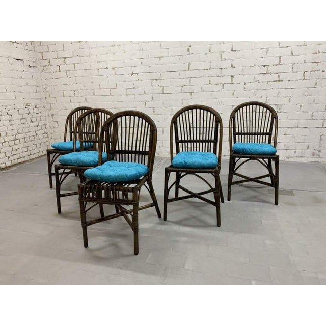 Set of 5 Italian Vintage Bamboo Patio Dining Chairs For Sale - Image 4 of 11