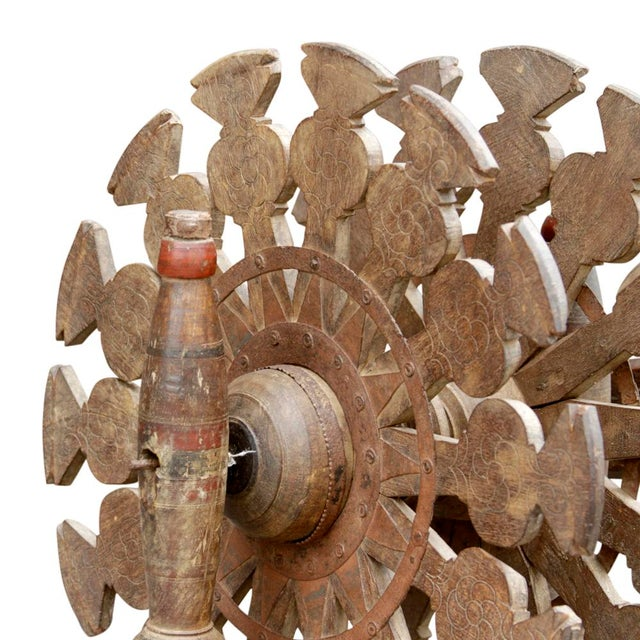 Charkha Carved Spinning Wheel For Sale - Image 4 of 7