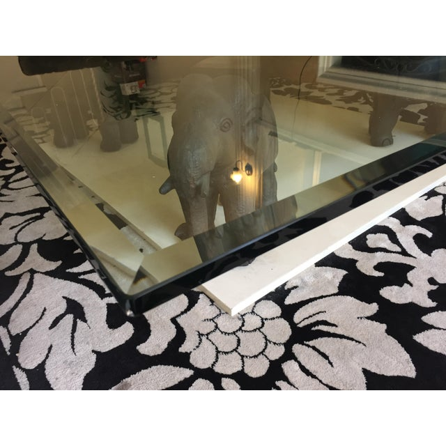 Glass Coffee Table With Wooden Elephant Stands - Image 5 of 8