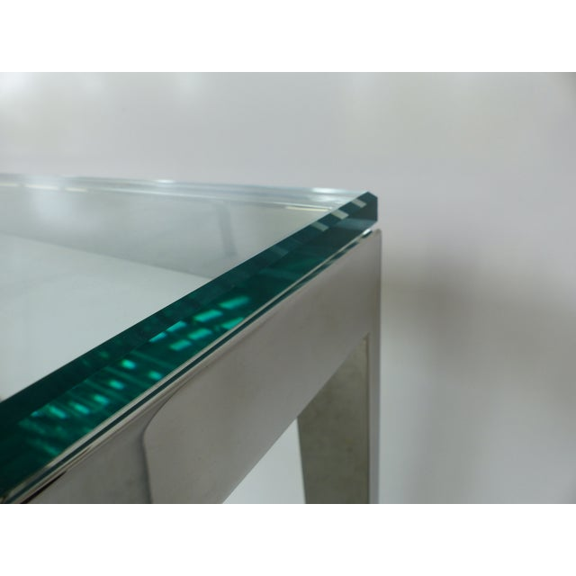 Glass Contemporary Italian Stainless Steel & Glass Cube Coffee Tables, Two Available For Sale - Image 7 of 9