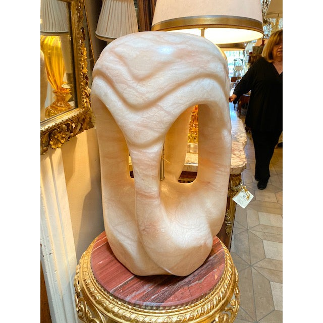 1960's Pink/Rose Alabaster Sculpture Lamp For Sale - Image 13 of 13