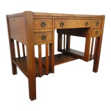 Image of 1900s Mission Arts and Crafts Early Tiger Oak Writing Desk For Sale