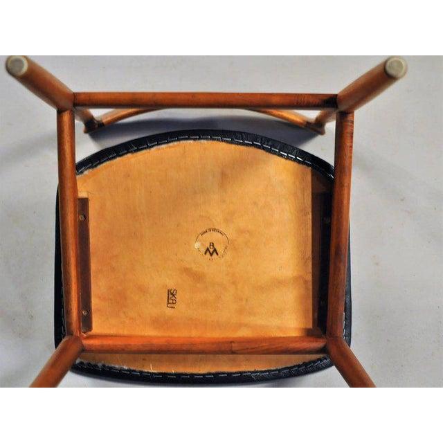 Black 1960s Henry Rosengren Hansen Model 39 Teak & Leather Dining Chairs - Set of 4 For Sale - Image 8 of 9