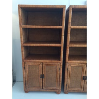 1980s Boho Chic Rattan Etageres With Two Door Cabinet - a Pair Preview