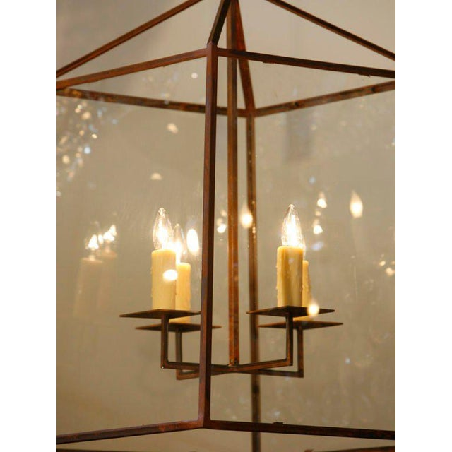 "Large Custom-Made, American Iron and Glass ""Seneca"" Lantern For Sale - Image 4 of 5"