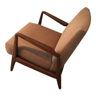 1960s Danish Modern Taupe Cushion Teak Armchair