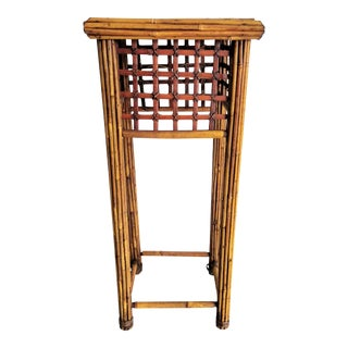 Mid 20th Century Cane Bamboo Table Plant Stand For Sale