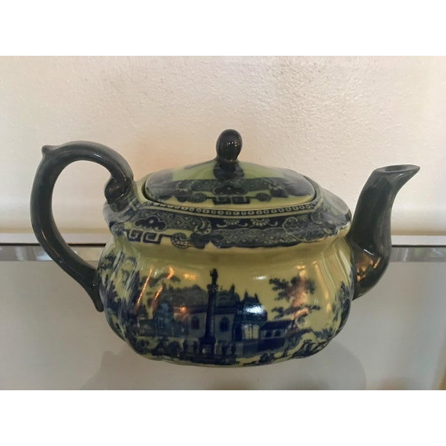 English Traditional Vintage Flow Blue English Teapot For Sale - Image 3 of 10